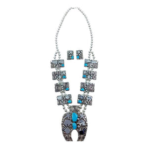 Native American Necklaces - Navajo Petroglyph Design Sterling Silver & Turquoise Squash Blossom Necklace Set - Alex Sanchez - Native American