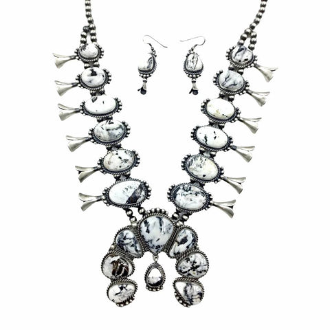 Native American Necklaces - Navajo White Buffalo Squash Blossom Dangle Silver Drop Necklace & Earrings Set - Mary Ann Spencer -  Native American