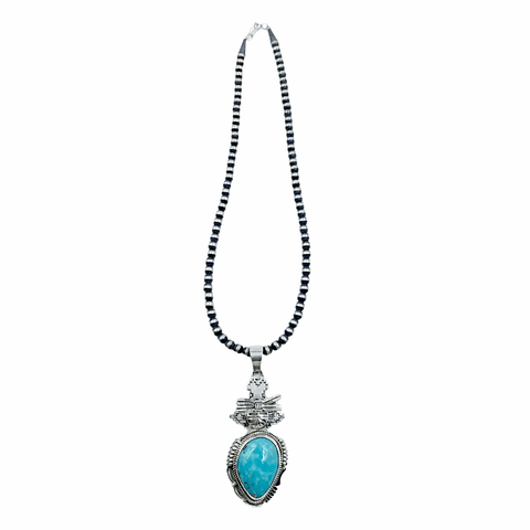 Native American Necklaces - Original Bennie Ration Kingman Turquoise Sterling Silver Pendant & Navajo Pearls Necklace - Native American