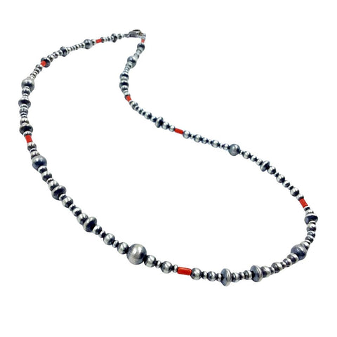 Image of Native American Necklaces & Pendants - 24 Inch Navajo Pearls & Red Coral Necklace - Native American