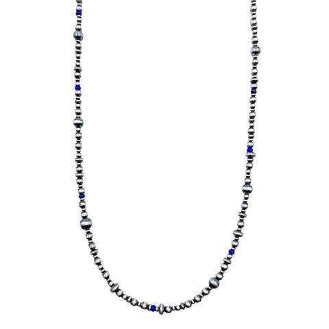Image of Native American Necklaces & Pendants - 36 Inch Navajo Pearls & Lapis Lazuli Necklace - Native American