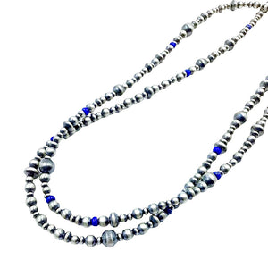 Native American Necklaces & Pendants - 36 Inch Navajo Pearls & Lapis Lazuli Necklace - Native American