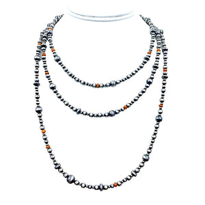 Native American Necklaces & Pendants - 60 Inch Navajo Pearls & Orange Spiny Oyster Necklace - Native American