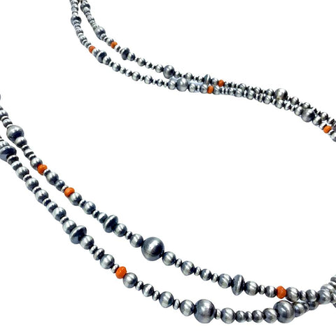 Image of Native American Necklaces & Pendants - 60 Inch Navajo Pearls & Orange Spiny Oyster Necklace - Native American