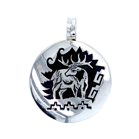 Image of Native American Necklaces & Pendants - Alvin Begay Navajo Elk Engraved Sterling Silver Native American Pendant