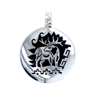 Native American Necklaces & Pendants - Alvin Begay Navajo Elk Engraved Sterling Silver Native American Pendant