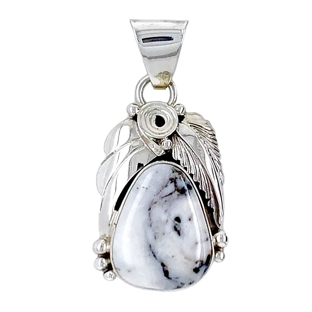 Native American Necklaces & Pendants - Beautiful Navajo White Buffalo Sterling Silver Pendant - Shirley Henry