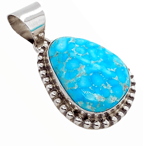 Native American Necklaces & Pendants - Blue Glaze Kingman Turquoise Pendant - Samson Edsitty Navajo