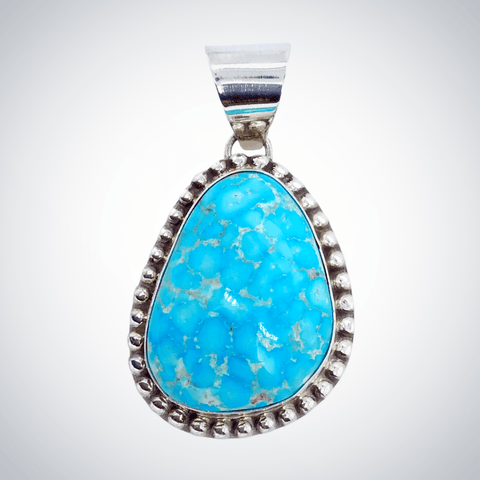 Image of Native American Necklaces & Pendants - Blue Glaze Kingman Turquoise Pendant - Samson Edsitty Navajo