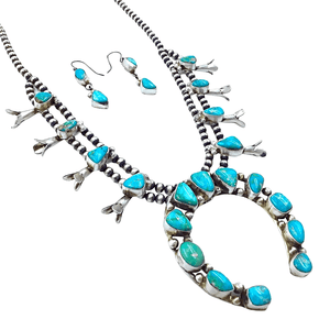 Native American Necklaces & Pendants - Blue Green Kingman Turquoise Squash Blossom Set - Ella Peters Navajo
