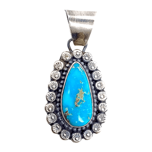 Native American Necklaces & Pendants - Bluebird Teardrop Turquoise Embellished Silver Pendant - Shelia Becenti - Navajo