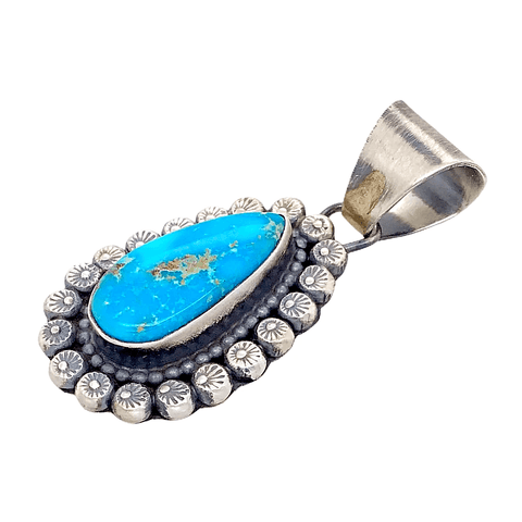Image of Native American Necklaces & Pendants - Bluebird Teardrop Turquoise Embellished Silver Pendant - Shelia Becenti - Navajo
