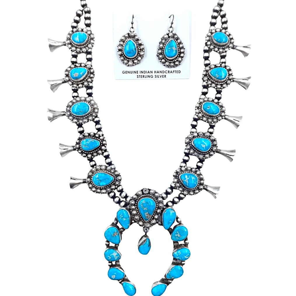 Native American Necklaces & Pendants - Bluebird Turquoise Squash Blossom Necklace Set - Ella Peters Navajo