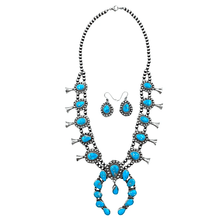 Load image into Gallery viewer, Native American Necklaces & Pendants - Bluebird Turquoise Squash Blossom Necklace Set - Ella Peters Navajo
