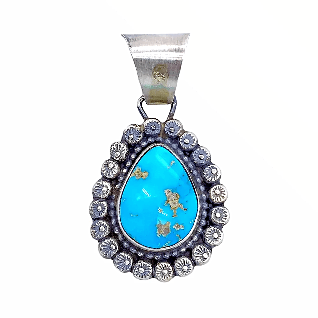 Native American Necklaces & Pendants - Bluebird Turquoise Teardrop Embellished Silver Pendant - Shelia Becenti Navajo