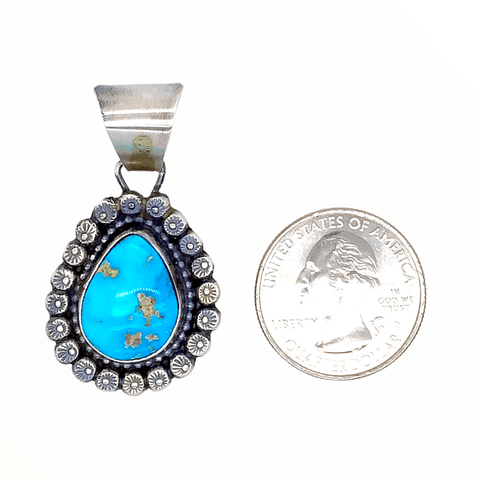 Image of Native American Necklaces & Pendants - Bluebird Turquoise Teardrop Embellished Silver Pendant - Shelia Becenti Navajo