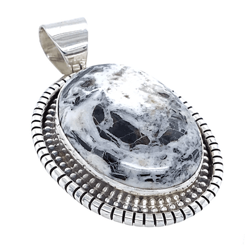 Image of Native American Necklaces & Pendants - Classic Oval White Buffalo Pendant - E. Spencer - Navajo
