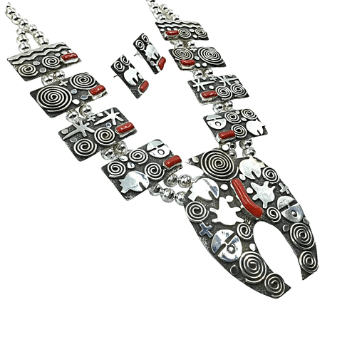 Image of Native American Necklaces & Pendants - Coral And Sterling Silver Bear Design Squash Blossom Set - Alex Sanchez - Navajo