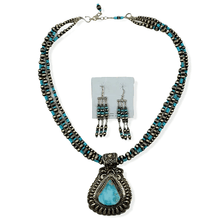 Load image into Gallery viewer, Native American Necklaces & Pendants - Darryl Becenti Navajo Pilot Mountain Turquoise Pendant Necklace Set