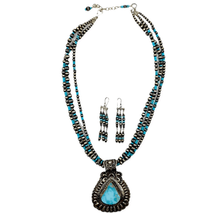 Native American Necklaces & Pendants - Darryl Becenti Navajo Pilot Mountain Turquoise Pendant Necklace Set