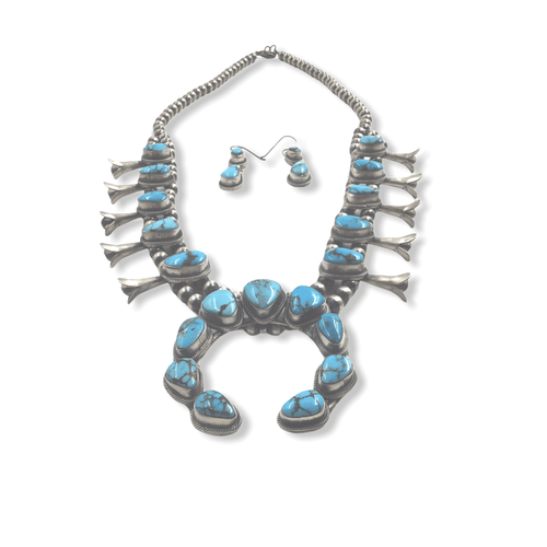 Native American Necklaces & Pendants - Egyptian Turquoise Navajo Squash Blossom Necklace Set - Esther Spencer