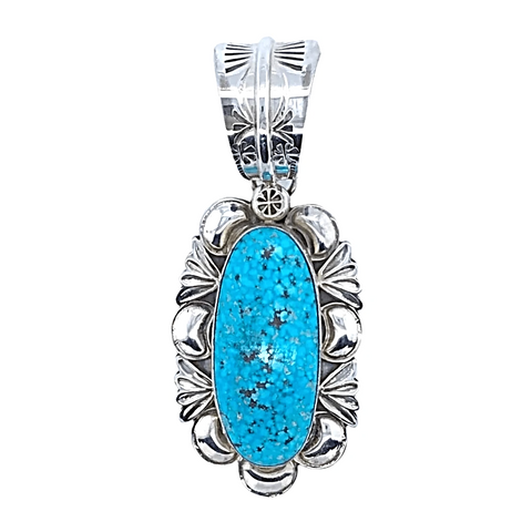 Image of Native American Necklaces & Pendants - Embellished Kingman Spider Web Turquoise Pendant - Mary Ann Spencer Navajo