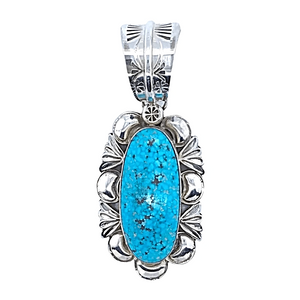 Native American Necklaces & Pendants - Embellished Kingman Spider Web Turquoise Pendant - Mary Ann Spencer Navajo