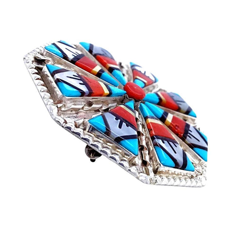 Image of Native American Necklaces & Pendants - Fine Zuni Traditional Inlay Pattern Pendant - Wilson & Carolyn Niiha - Native American