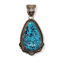 Load image into Gallery viewer, Native American Necklaces & Pendants - Kingman Spider Web Turquoise Pendant -Old Style