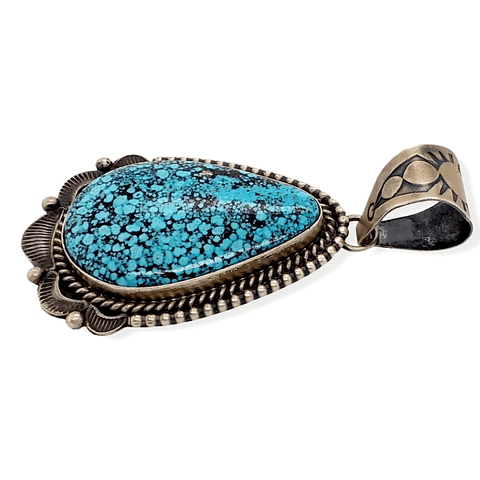 Image of Native American Necklaces & Pendants - Kingman Spider Web Turquoise Pendant -Old Style