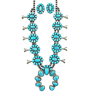Native American Necklaces & Pendants - Kingman Spider Web Turquoise Squash Blossom Set - Bea Tom