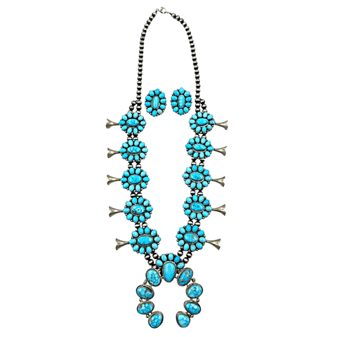 Image of Native American Necklaces & Pendants - Kingman Spider Web Turquoise Squash Blossom Set - Bea Tom