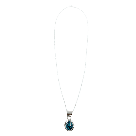 Native American Necklaces & Pendants - Kingman Teal Turquoise Embellished Silver Necklace- Shelia Becenti, Navajo