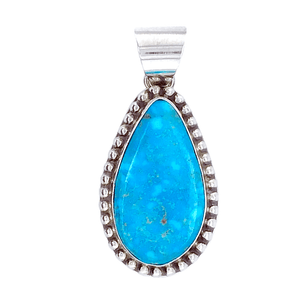 Native American Necklaces & Pendants - Kingman Turquoise Elongated Teardrop Pendant - Samson Edsitty Navajo