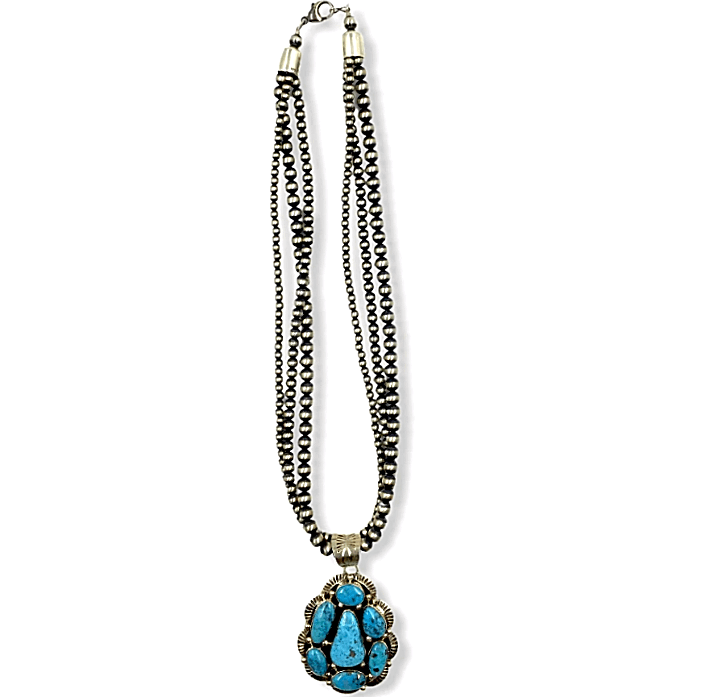 Native American Necklaces & Pendants - Kingman Turquoise Necklace On 3 Strand Sterling Silver Navajo Pearl Beads
