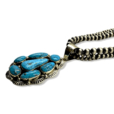 Image of Native American Necklaces & Pendants - Kingman Turquoise Necklace On 3 Strand Sterling Silver Navajo Pearl Beads