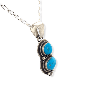 Native American Necklaces & Pendants - Kingman Turquoise Pendant Signed By Paul Livingston