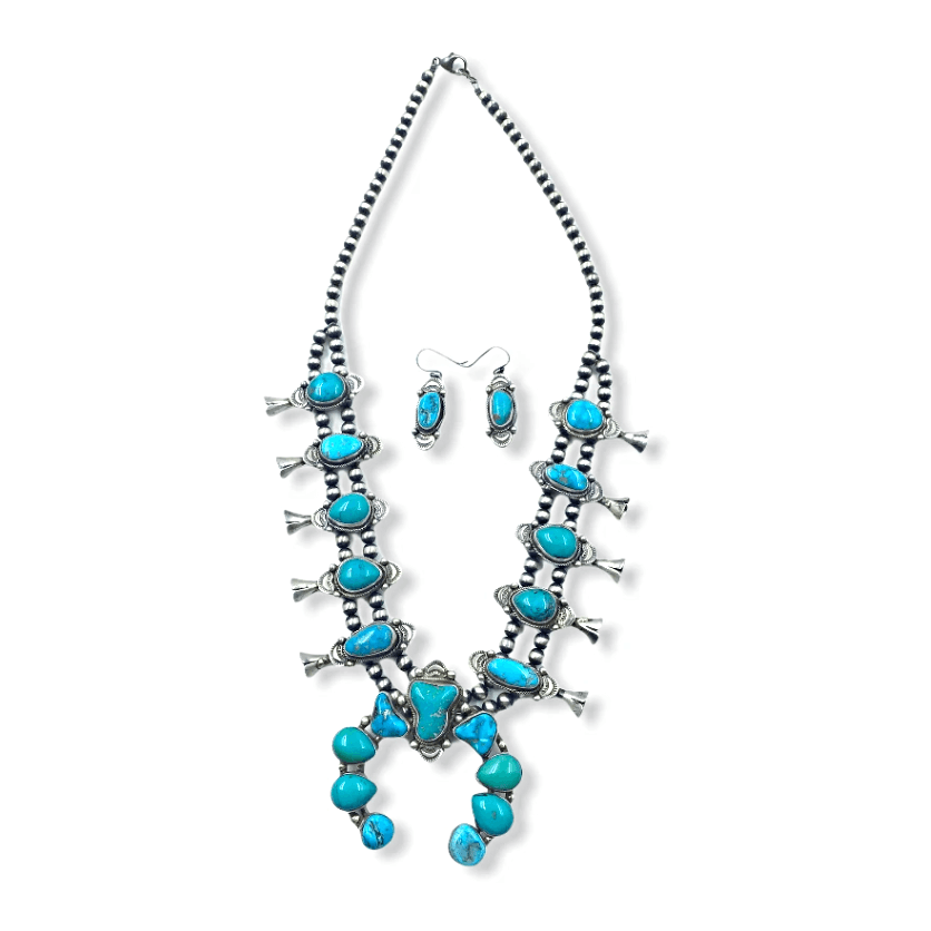 Native American Necklaces & Pendants - Kingman Turquoise Squash Blossom Necklace Set - Lorenzo Juan