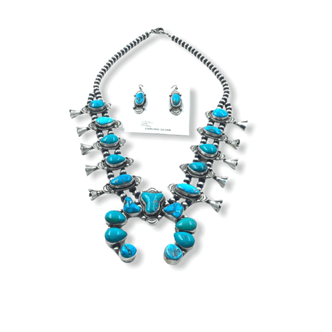 Image of Native American Necklaces & Pendants - Kingman Turquoise Squash Blossom Necklace Set - Lorenzo Juan