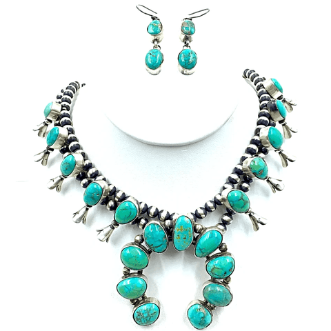 Image of Native American Necklaces & Pendants - Kingman Turquoise Teal Squash Blossom Set - Kathleen Chavez - Navajo