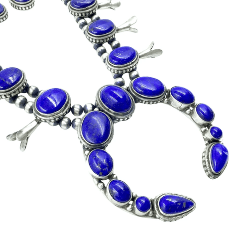 Native American Necklaces & Pendants - Lapis Lazui Squash Blossom Set - Bea Tom, Navajo