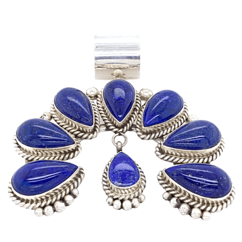 Image of Native American Necklaces & Pendants - Lapis Lazui Teardrop Naja Pendant - Mary Ann Spencer Navajo