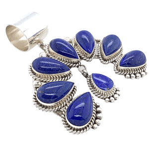 Native American Necklaces & Pendants - Lapis Lazui Teardrop Naja Pendant - Mary Ann Spencer Navajo