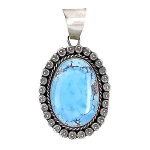 Native American Necklaces & Pendants - Large Navajo Golden Hills Turquoise Sterling Silver Pendant - Sheila Becenti