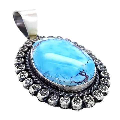 Image of Native American Necklaces & Pendants - Large Navajo Golden Hills Turquoise Sterling Silver Pendant - Sheila Becenti