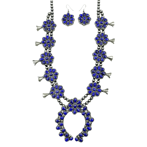 Native American Necklaces & Pendants - Large Navajo Lapis Squash Blossom Necklace Set - Ella Peters
