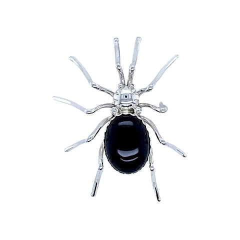 Native American Necklaces & Pendants - Large Navajo Onyx Sterling Silver Spider Pin - E. Spencer