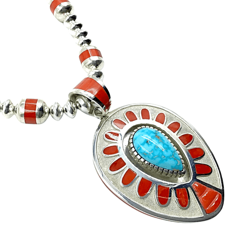 Image of Native American Necklaces & Pendants - Large Navajo Turquoise And Coral Teardrop Necklace - Michael Perry