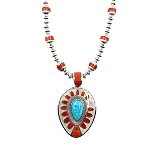 Native American Necklaces & Pendants - Large Navajo Turquoise And Coral Teardrop Necklace - Michael Perry