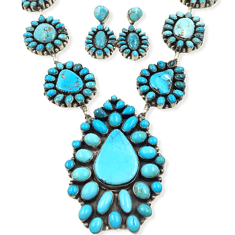 Image of Native American Necklaces & Pendants - Large Navajo Turquoise Teardrop Necklace Set